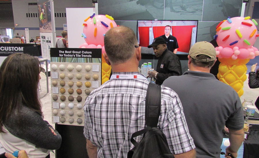 ice cream tasting at Custom Building Products booth