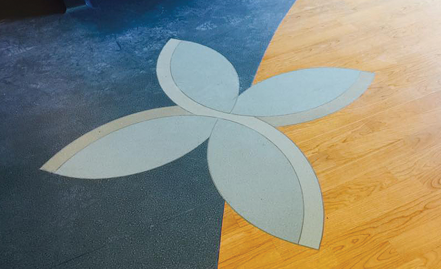 floral inlays in hospital flooring
