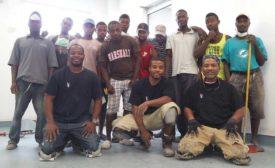 volunteers for Haiti build