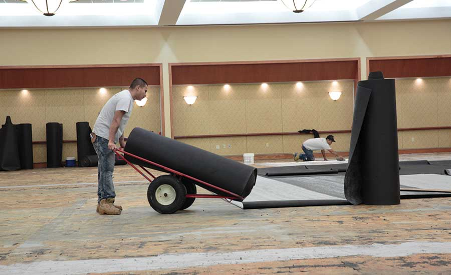 wheeling in cushioning underlayment