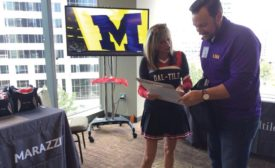 networking at tailgate-themed tabletop display event