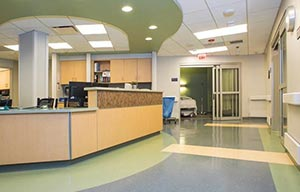 resilient flooring installed in hospital