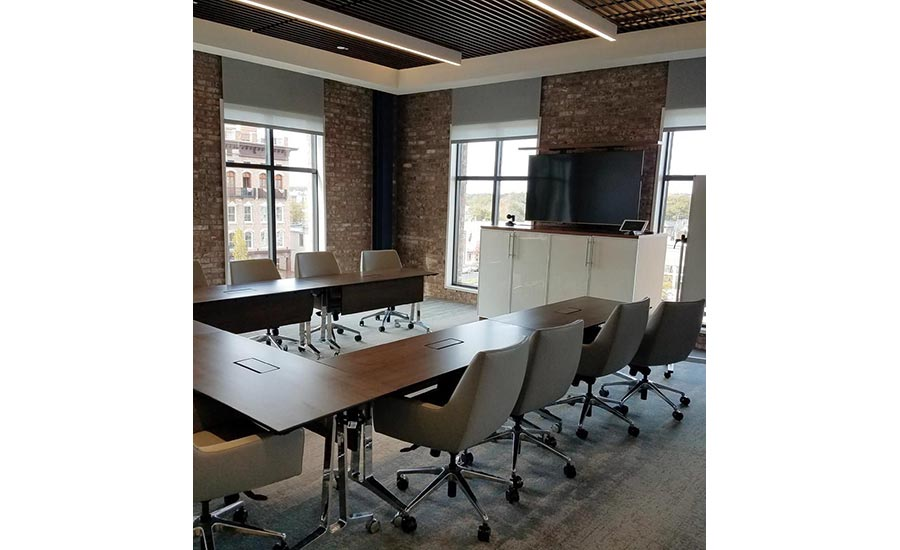 thin-brick installation in conference room