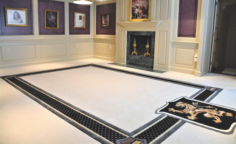 custom carpet with Scottish Rampant lion crest