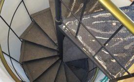 carpet installation on spiral staircase
