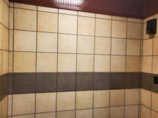 tile installation in commercial restroom