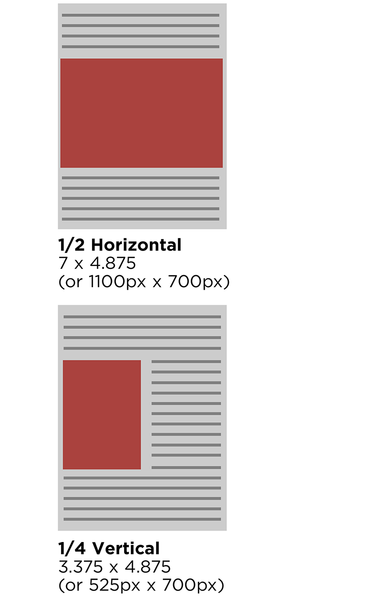 Examples of ad sizes.